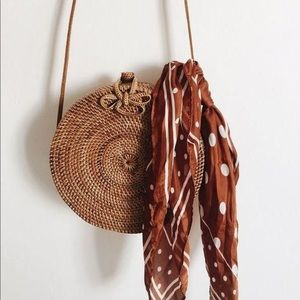 Handbags - Rattan crossbody circle bag straw woven round bag